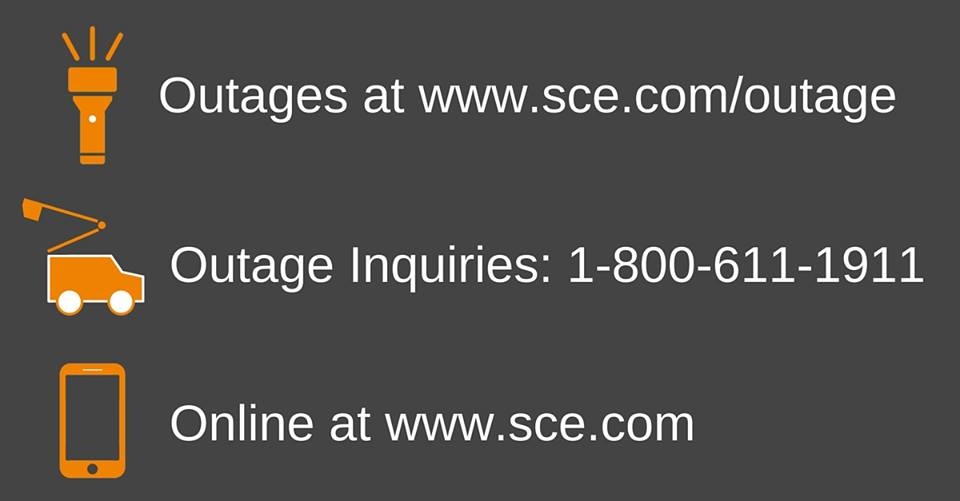 Southern California Edison website - Report an Outage